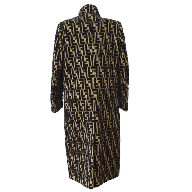 Black Fendi Monogram 'F' Logo Women's Long Mock Neck Tailored OverCoat Jacket For Sale