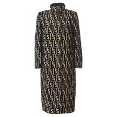 Fendi Monogram 'F' Logo Women's Long Mock Neck Tailored OverCoat Jacket