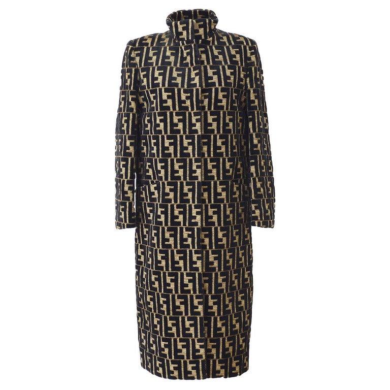 Fendi Monogram 'F' Logo Women's Long Mock Neck Tailored OverCoat Jacket For Sale