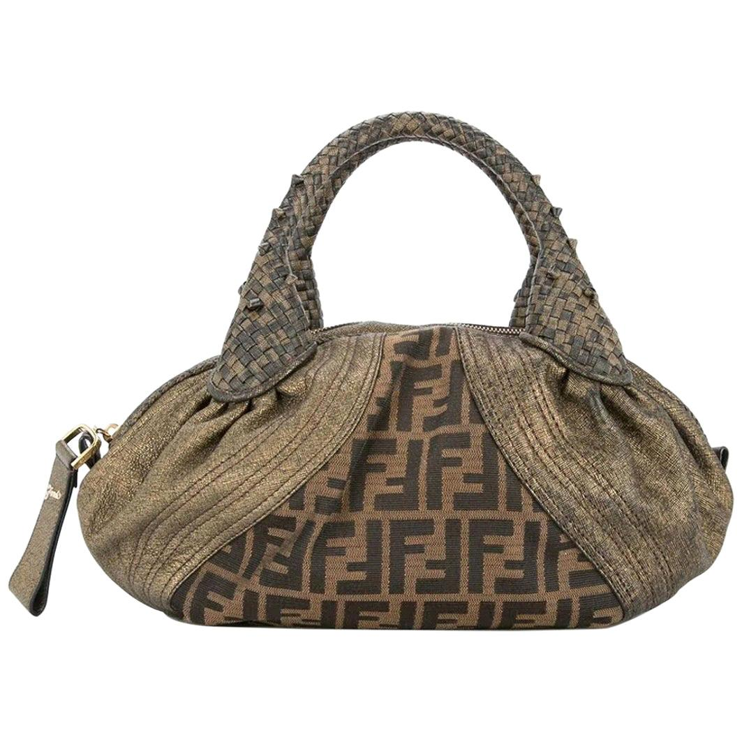 Fendi Monogram Fabric Brown Gold Leather Top Handle Satchel Small Mini Spy Bag