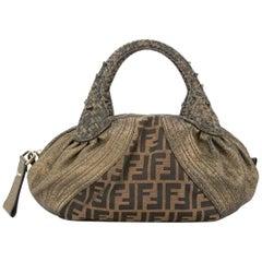 Fendi Monogram Fabric Brown Gold Leather Top Handle Satchel Small Mini Spy Bag