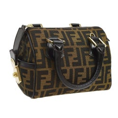 Fendi Monogram Logo Black Evening Speedy Style Top Handle Satchel Bag