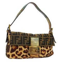 Fendi Monogram Logo Ponyhair Exotic Top Handle Shoulder Pochette Flap Bag