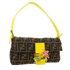 Fendi Monogram Logo Rhinestone Charm Top Handle Shoulder Pochette Flap Bag