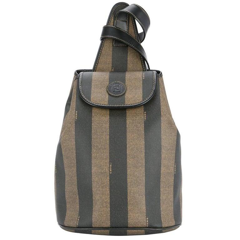 Fendi Monogram Stripe Carryall Shoulder Crossbody Backpack Bag