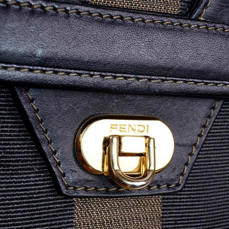 Fendi Monogram Stripe Vintage Top Handle Bag with Optional Shoulder Strap For Sale 5
