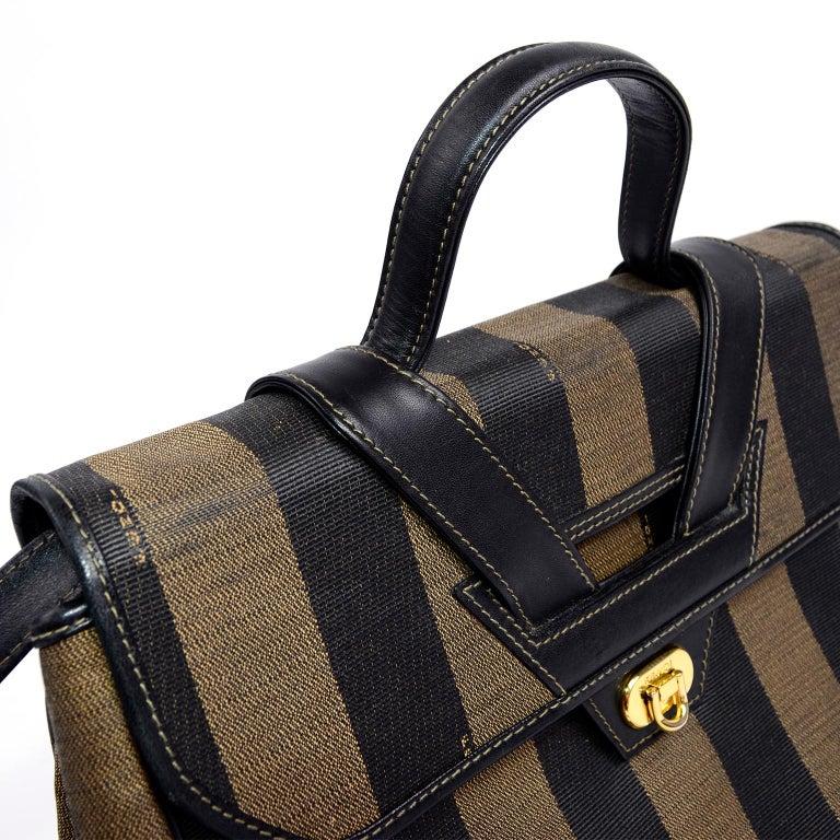Fendi Monogram Stripe Vintage Top Handle Bag with Optional Shoulder Strap For Sale 7