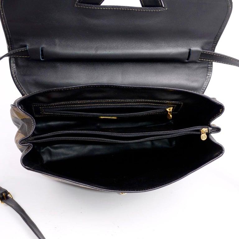 Fendi Monogram Stripe Vintage Top Handle Bag with Optional Shoulder Strap For Sale 8