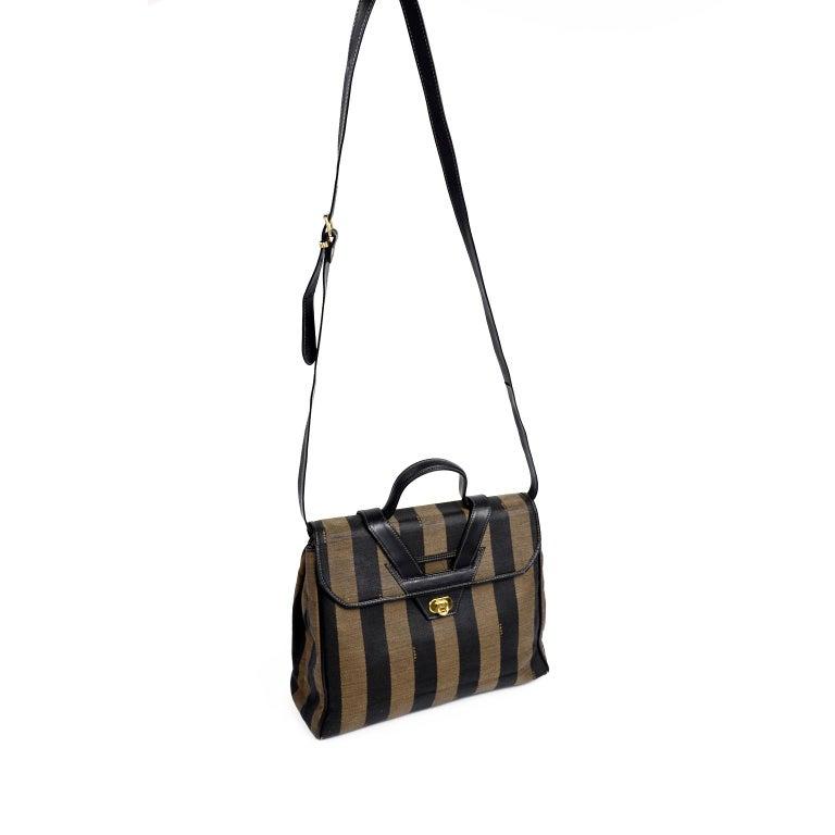 Black Fendi Monogram Stripe Vintage Top Handle Bag with Optional Shoulder Strap For Sale