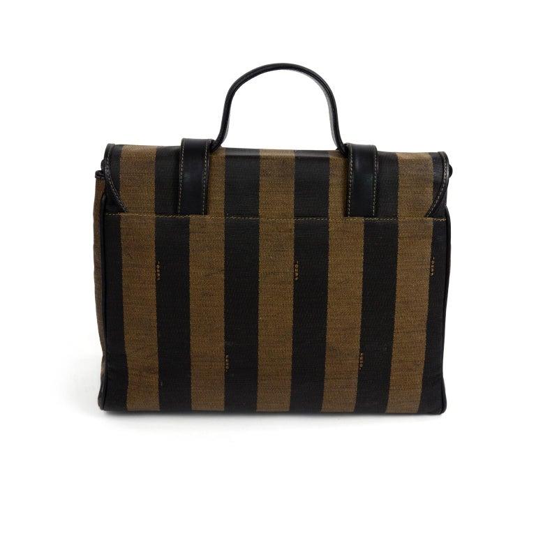 Women's Fendi Monogram Stripe Vintage Top Handle Bag with Optional Shoulder Strap For Sale