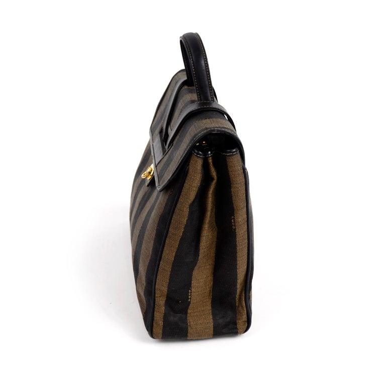 Fendi Monogram Stripe Vintage Top Handle Bag with Optional Shoulder Strap For Sale 1