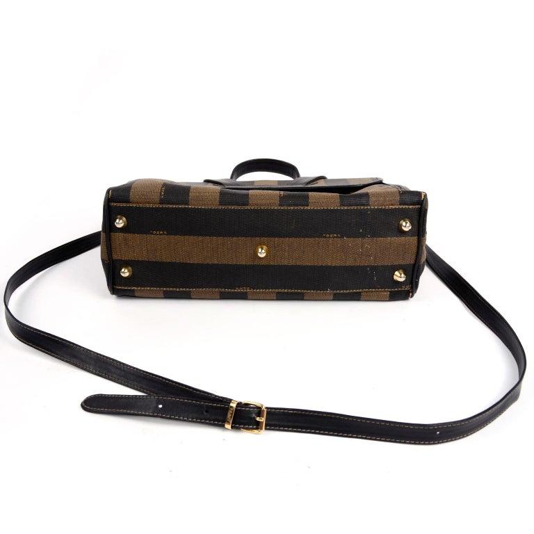 Fendi Monogram Stripe Vintage Top Handle Bag with Optional Shoulder Strap For Sale 2