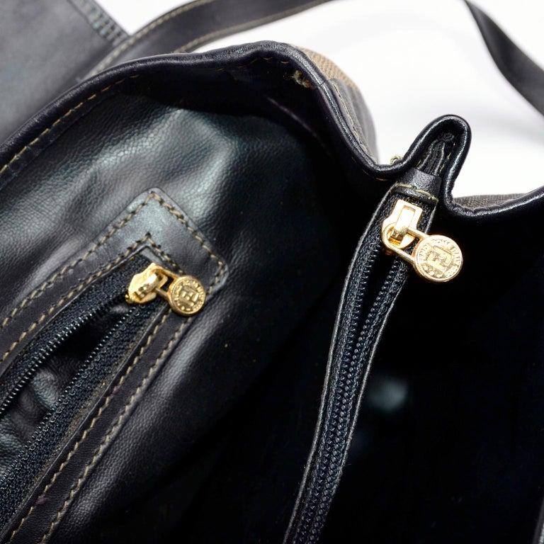 Fendi Monogram Stripe Vintage Top Handle Bag with Optional Shoulder Strap For Sale 4
