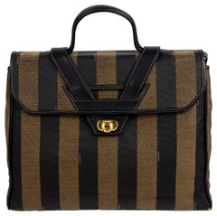 Fendi Monogram Stripe Vintage Top Handle Bag with Optional Shoulder Strap