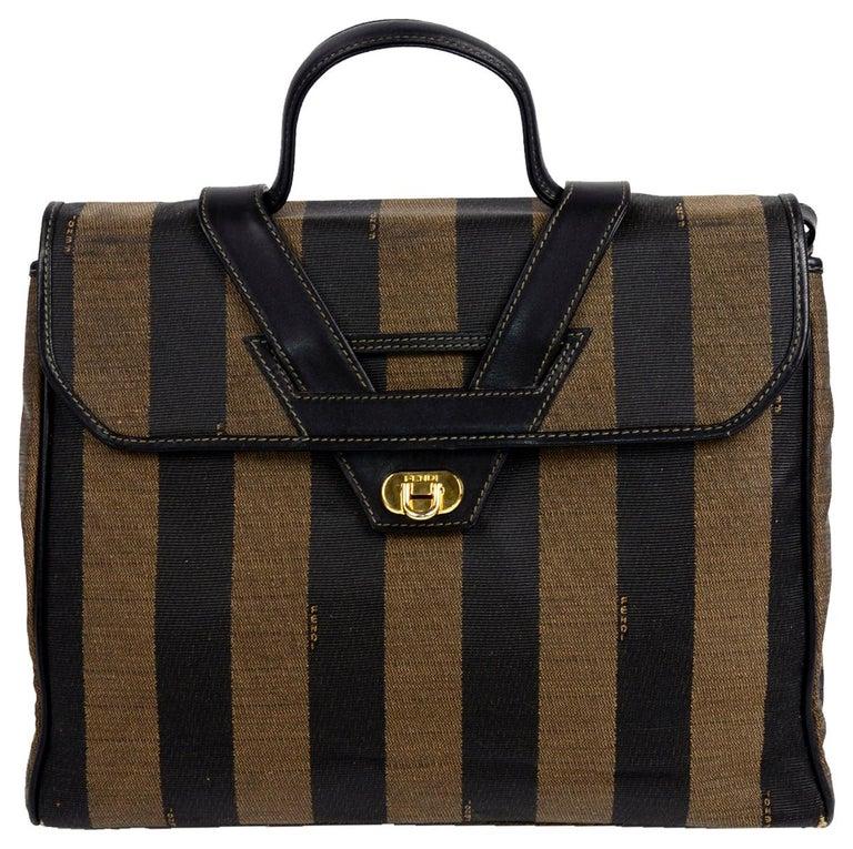 Fendi Monogram Stripe Vintage Top Handle Bag with Optional Shoulder Strap For Sale