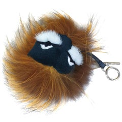 Fendi Monster Bugs Bag Charm Fox Mink Fur Multicolor