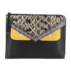 Fendi Monster Clutch Leather with Python and Crocodile Medium