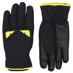 Fendi Monster Eye Leather Ski Gloves