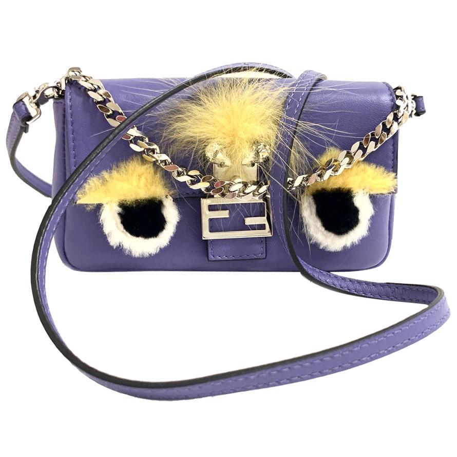 FENDI Monster Mini Baguette Bag In Purple Leather