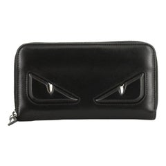 Fendi Monster Zip Around Wallet Leather Long