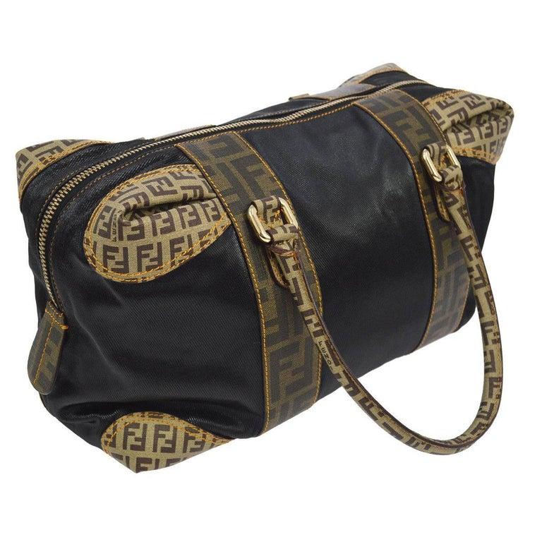Fendi Multi Monogram Logo Black Evening Speedy Style Top Handle Satchel Bag