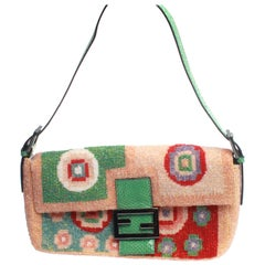 Fendi multi needle point beaded baguette bag with green snakeskin strap and clos