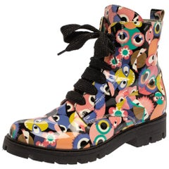 Fendi Multicolor Bag Bugs Printed Patent Leather Combat Boots Size 35