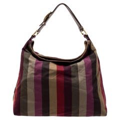Fendi Multicolor Canvas and Leather Large Pequin Striped Hobo