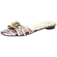 Fendi Multicolor Canvas Flat Slide Sandals Size 41