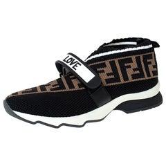 Fendi Multicolor FF Monogram Knit Fabric Rockoko Sneakers Size 38