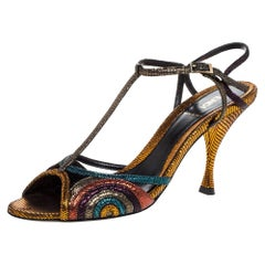 Fendi Multicolor Glitter Leather Ankle Strap Sandals Size 38.5