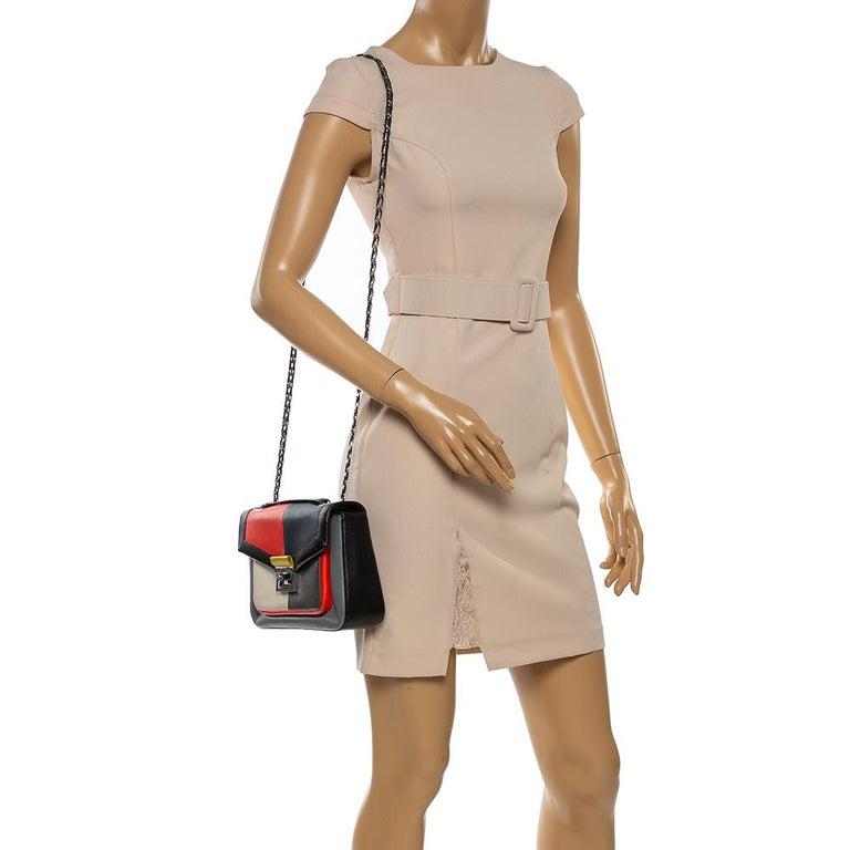 Black Fendi Multicolor Leather Be Baguette Shoulder Bag For Sale