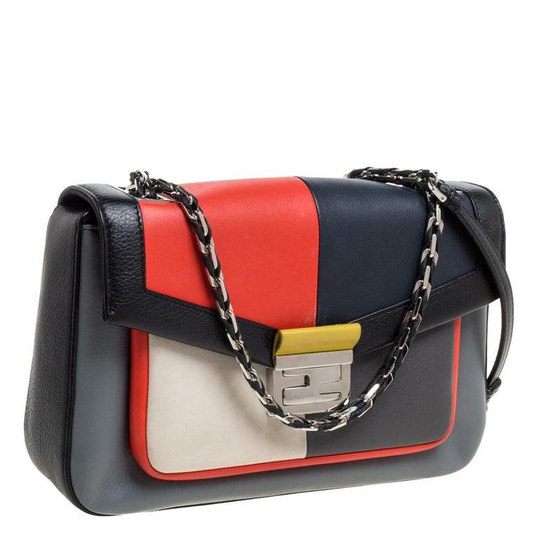 Fendi Multicolor Leather Be Baguette Shoulder Bag In Good Condition For Sale In Dubai, Al Qouz 2