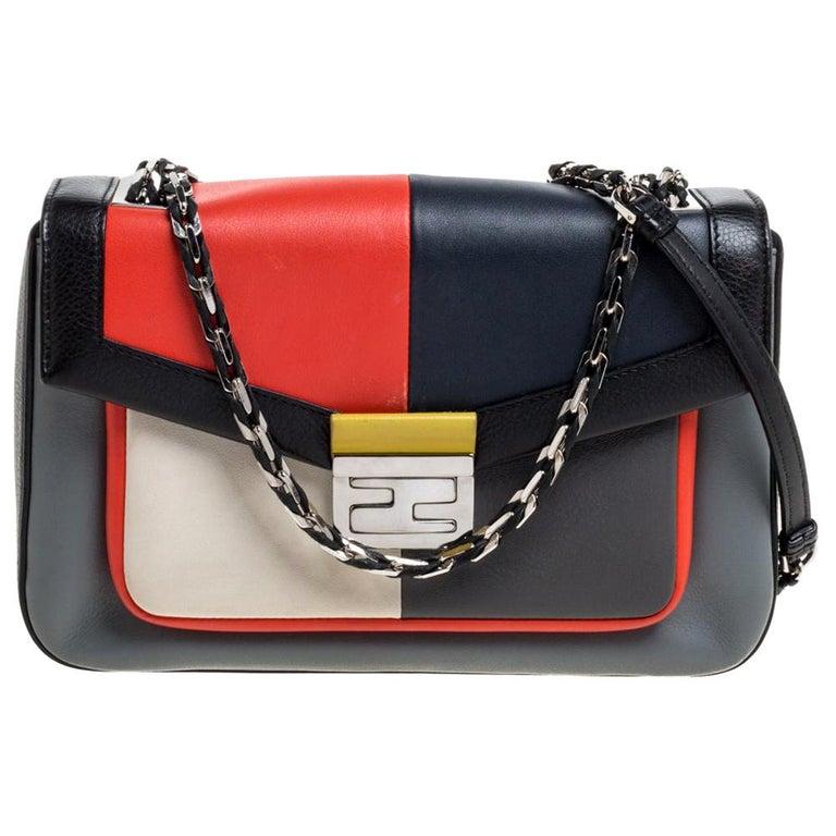 Fendi Multicolor Leather Be Baguette Shoulder Bag For Sale