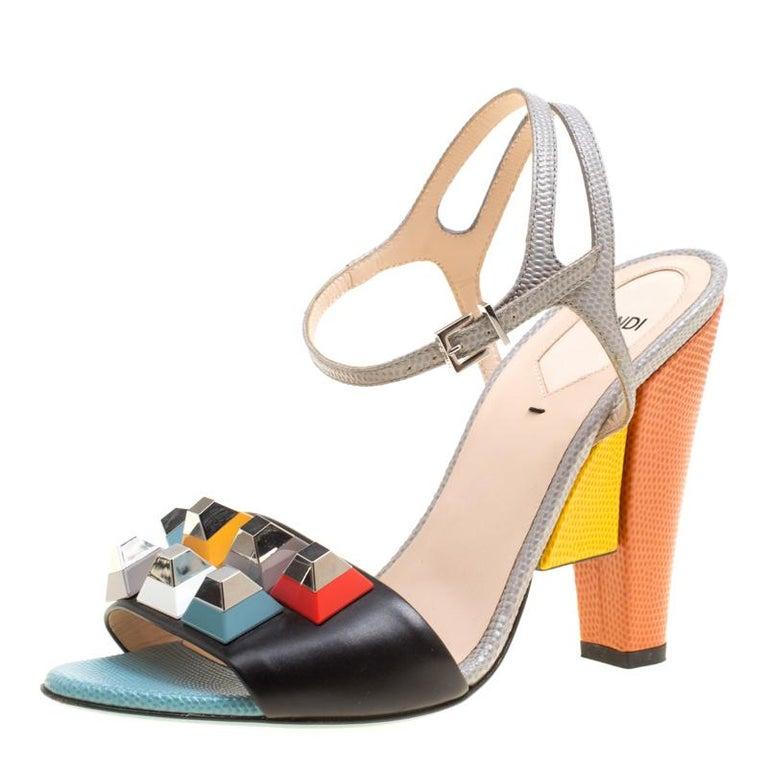 53fa40b0182 Fendi Multicolor Leather Fantasia Studded Ankle Strap Sandals Size 39.5