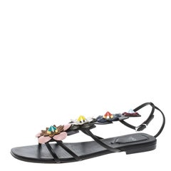 9969e5d8bba Fendi Multicolor Leather Flowerland Ankle Strap Gladiator Sandals Size 37.5