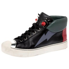 Fendi Multicolor Leather Monster Face High Top Sneakers Size 38
