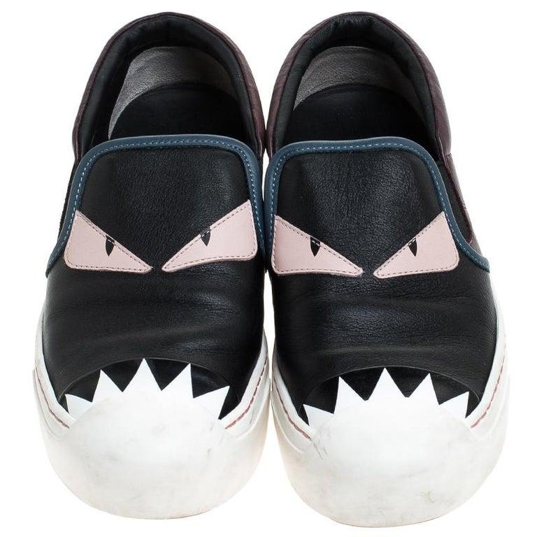 Black Fendi Multicolor Leather Monster Slip On Sneakers Size 36.5