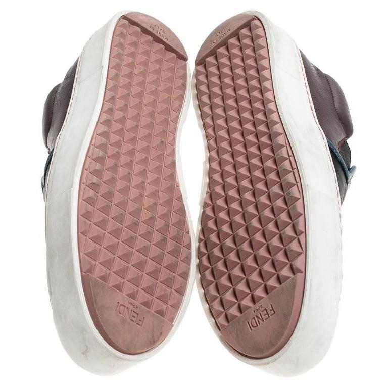 Fendi Multicolor Leather Monster Slip On Sneakers Size 36.5 In Good Condition In Dubai, Al Qouz 2