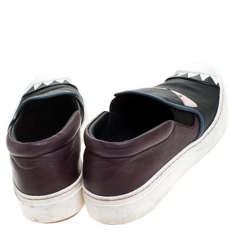 Women's Fendi Multicolor Leather Monster Slip On Sneakers Size 36.5