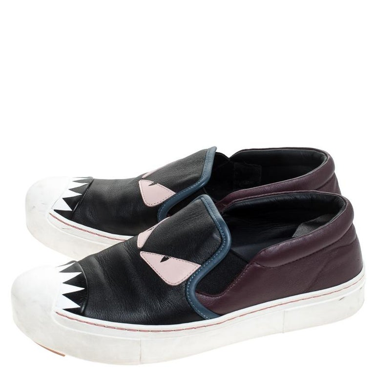 Fendi Multicolor Leather Monster Slip On Sneakers Size 36.5 1