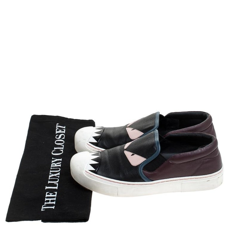 Fendi Multicolor Leather Monster Slip On Sneakers Size 36.5 3