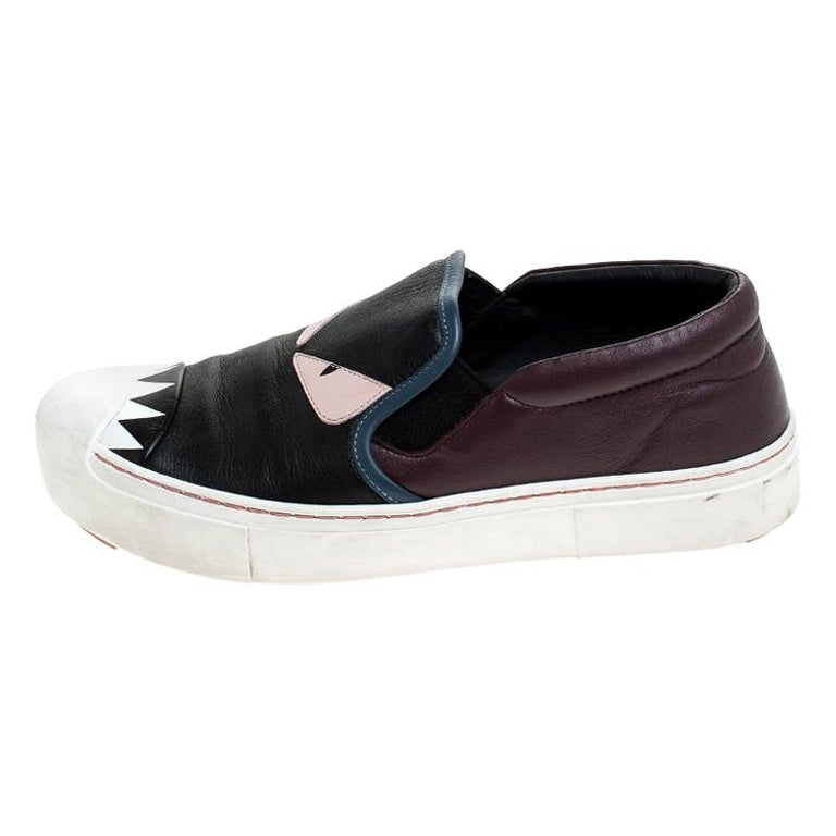 Fendi Multicolor Leather Monster Slip On Sneakers Size 36.5