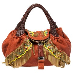 Fendi Multicolor Leather Spy Beaded and Fringe Embellished Bag