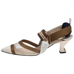 Fendi Multicolor Mesh, Canvas And Leather Colibri Slingback Sandals Size 39