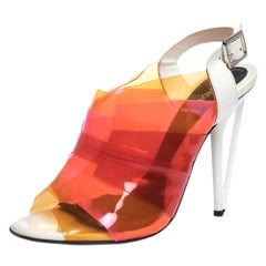 Fendi Multicolor PVC And White Patent Slingback Sandals Size 38