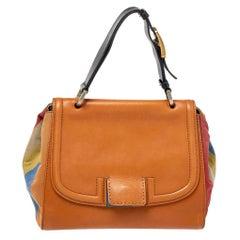 Fendi Multicolor Stripe Canvas and Leather Silvana Top Handle Bag