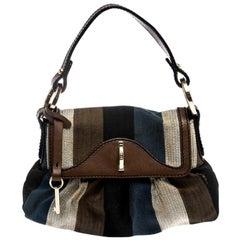 Fendi Multicolor Striped Canvas and Leather Limited Edition Chef Pochette Bag