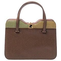 Fendi Multicolor Textured Leather Miss Marple Top Handle Bag