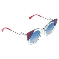 Fendi Multicolor Transparent Gradient Wave Cat Eye Sunglasses